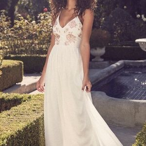 Lulu's  Pink & White Embroidered Maxi dress